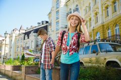 Group of children travel in Europe. Tourism and Vacation concept Stock Photography