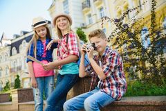 Group of children travel in Europe. Tourism and Vacation concept Royalty Free Stock Photo