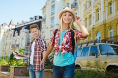 Group of children travel in Europe. Tourism and Vacation concept Royalty Free Stock Photography