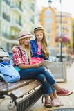 Group of children travel in Europe. Tourism and Vacation concept.  Royalty Free Stock Photos