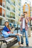Group of children travel in Europe. Tourism and Vacation concept.  Stock Photos