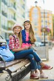 Group of children travel in Europe. Tourism and Vacation concept.  Royalty Free Stock Photo