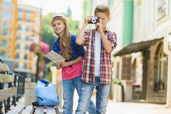Group of children travel in Europe. Tourism and Vacation concept.  Stock Photo