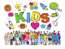 Group of Children with Various Symbols Royalty Free Stock Photo