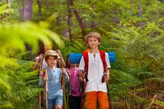 Children hiking as class group in forest Stock Photos