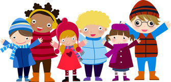 Group of children and winter Stock Photography