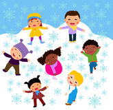 Group of children and winter Stock Photos