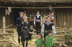 Group of children and women Blue Hmong Royalty Free Stock Image