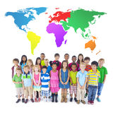 Group of Children. With world map royalty free stock photography