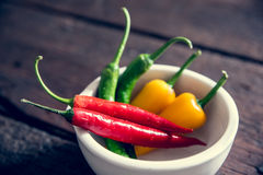 Group of chili peppers Royalty Free Stock Images