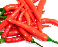 Red chilli on white background stock photos