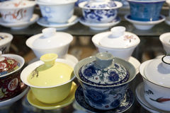 Group of china tea cup in the market. Group of china tea cup in line,beijing China Stock Photo