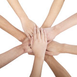 Group of Chinese friends with hands in circle Royalty Free Stock Photos