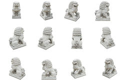 Group of Chinese Imperial Lion Statue, Isolated on white background. Also call guardian lion stock photography