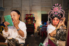 A Group of Chinese Opera member prepares at backstage Stock Photography