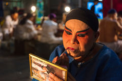 A Group of Chinese Opera member prepares at backstage Royalty Free Stock Photography