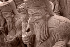 Group of Chinese Stone God Stock Photography