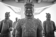 Group of Chinese terracotta soldiers. Reproduction of the famous royalty free stock photography