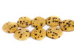 A group of chocolate chop cookie`s. A cookie is a baked or cooked food that is small, flat and sweet. It usually contains flour, sugar and some type of oil or Royalty Free Stock Photos