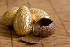 Group of chocolate  easter eggs Stock Image