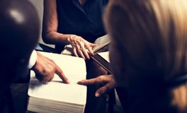 Group christianity people reading bible together stock image