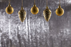 A group of Christmas ball And Pine Cone Royalty Free Stock Photos