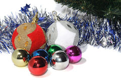 Group of Christmas Baubles. With silver tinsel Stock Photo