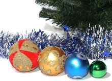 Group of Christmas Baubles. With silver tinsel Stock Photography