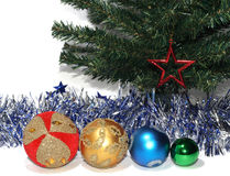 Group of Christmas Baubles. Under Christmas tree Stock Images
