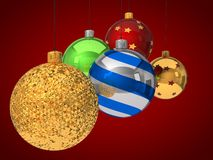Group of christmas baubles Royalty Free Stock Photo