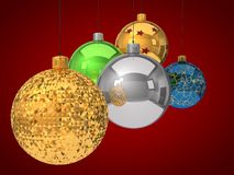 Group of christmas baubles Stock Images