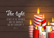 Group of Christmas candles with biblical quote. The light shines in the darkness, and the darkness has not overcome it. Biblical quote. Group of Christmas royalty free illustration