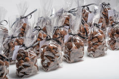 Group of Christmas chocolate truffle bags in a row Stock Photography