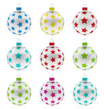 Group Christmas Colorful Glass Balls Royalty Free Stock Images