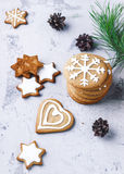 Group of christmas  cookies  on white background. Royalty Free Stock Image