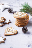 Group of christmas  cookies  on white background. Royalty Free Stock Photos