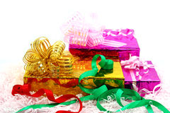 Group of Christmas gifts. Golden and  pink box Stock Photo