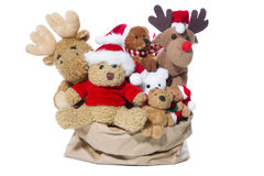 Group of christmas teddy bears or santa claus for teamwork, team. Christmas, teddy bears isolated on white background - concept for team, friends or teamwork Royalty Free Stock Photos