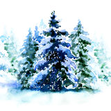 Group of christmas trees covered snow in winter isolated. Watercolor painting on white background Stock Photo