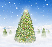 Group of Christmas Trees Outdoors Snowing Royalty Free Stock Images
