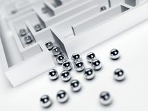Group of chrome steel balls at the entrance to the maze Stock Image