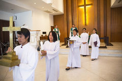 Group of church worker in sunday service. Group of church worker in sunday service walking out after mass royalty free stock images