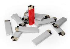 Group cigarette lighter Stock Photo