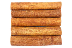 Group of cinnamon sticks isolated on white background, top view Royalty Free Stock Image