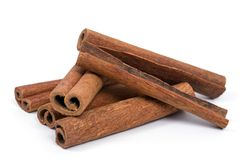 Group of cinnamon sticks stock images