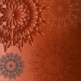 Group circular patterns on a brown background Stock Photo