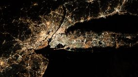 New York City and Newark, New Jersey. Long Island. Aerial view. Group of city lights in the northeastern United States. New York City and Newark, New Jersey stock footage