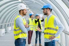 Group civil engineering students visiting site royalty free stock photo