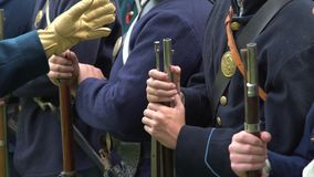 Group of Civil War soldiers being inspected. A Group of Civil War soldiers being inspected stock footage