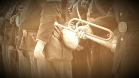 Group of Civil War soldiers with bugle (Archive Footage Version) stock video footage